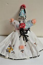 Vintage Handmade Toaster Cover Cloth Rag Doll 1940s Handpainted W Sequins