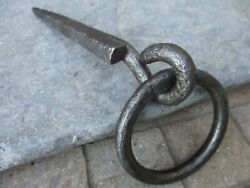 Vintage Wrought Iron Tethering Ring on Pin Game Hook amp; Spike Old Wall Hardware