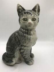 """Vintage Porcelain Gray Tabby Cat Figurine 7 1 4"""" Made in Japan on Paw"""