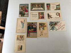 Lot Of 10 Vintage Christmas, Thanksgiving, New Years Post Cards Early 1900s