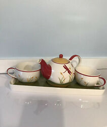 """Huesnbrews Tea For Two """"dragonfly"""" Teapot, 2 Tea Cups, Tray, Discontinued Nwob"""