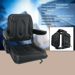 Lawn Mower Seat Garden Tractor Forklift Seat With Sliding Track And Armrest Black