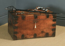 Antique English Victorian Pine And Steel Strapped Zinc Lined Chest/trunk Circa1850