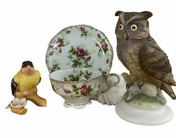 Lefton Cup And Saucer Owl And Bird Lot Collectible Home Decor