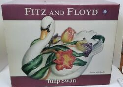 Three Piece Fitz And Floyd Tulip Swan Soup Tureen And Ladle