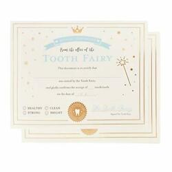 Juvale 32-pack Tooth Fairy Paper Certificate Letter Receipts With Gold Foil For
