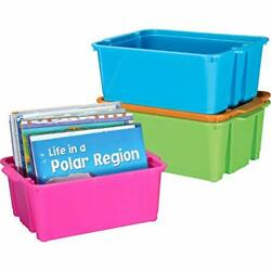 Really Good Stuff Stackable Plastic Book And Organizer Bins For Classroom Or