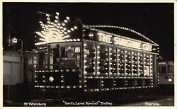 Fl - 1950's Florida Real Photo Santa Claus Land Special Trolley St. Petersburg