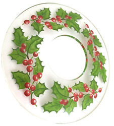 Biedermann And Sons Glass Bobeches Box Of 12 Holly Design Clear Count
