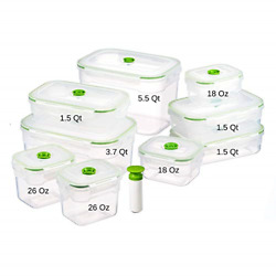 Lasting Freshness 19 Piece Vacuum Seal Food Storage Container Set Rectangle