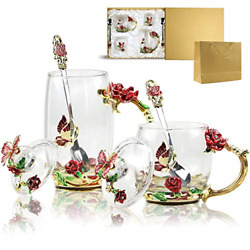 Novelty Cups Butterfly Flower Lead-free Glass Coffee Mugs Tea Cup With Lid Steel