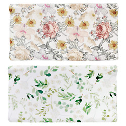 Diaper Changing Pad Cover, 2 Pack, Floral Changing Table Cover, Green Leaf Pad