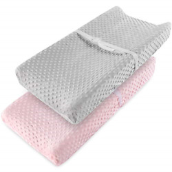 Vextronic Changing Pad Cover Ultra Soft Minky Dots Plush Changing Table Covers 2