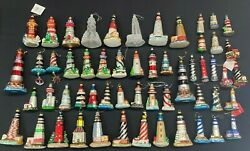 Lot Of 55 Blown Glass Lighthouse Ornaments 3 - 8.5 Tall German Polish Others