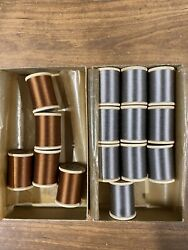 Vintage Gudebrod Silk Thread - 15 Wooden Spools - Med. Brown 541 And Gray 602