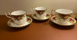 3 Sets Royal Albert Old Country Roses Tea Cups W/ Saucers England 1962 Montrose