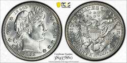 1911 S 25c Barber Quarter Pcgs Ms 65 Uncirculated Cac Approved Stunning