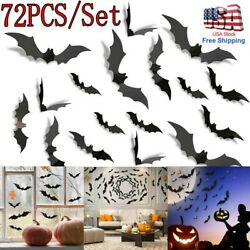 72PCS Halloween Bat Wall Decals Party Scary Spooky Black Decoration Stickers US