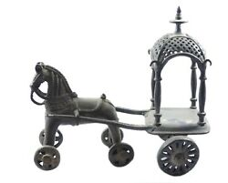 Horse Chariot Vintage Brass Decorative Collectible Toy Home Decor Art