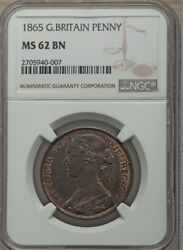 Great Britain Victoria 1865 Penny, Uncirculated, Certified Ngc Ms62-bn