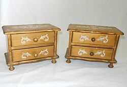 Pair Vintage Italian Tole Chests Music Box 2 Drawer Jewelry Wood Gilt Regency