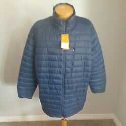 Menand039s Foundry Big And Tall Puffer Jacket Blue Water Resistant 3xlt Nwt