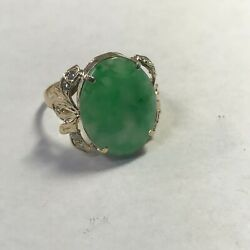 18k Yellow Gold Apple Jade And Diamond Ring A33