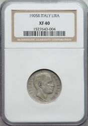 Italy Kingdom 1905-r 1 Lira Silver Coin Rare Ngc Certified Xf40 Key Date