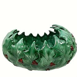 Vintage Christmas Holly Bowl Large 11quot; x 6quot; Green Oval Dish Ceramic Signed