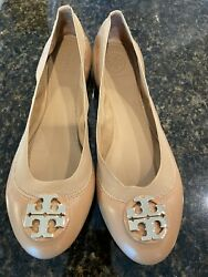NEW Tory Burch Women#x27;s Claire Elastic Ballet Flats Sand Nappa Leather 7M $99.00