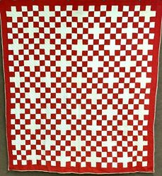Farmhouse C 1900s Checkerboard Quilt Antique Turkey Red Country
