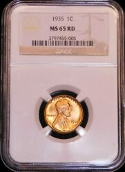 1935 Lincoln Cent Ngc Ms65rd Full Rich Red With Superb Luster, Pq G761