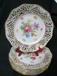 Vtg Floral Schumann Bavaria Germany Chateau Us Zone Lacey Plate 9½ Gilded