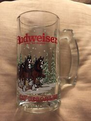 """Budweiser Clydesdale Glass Beer Mug Holiday Stein Collectible 1992 New 6 """" Tall"""