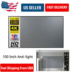 100 Inch Anti light Curtains Projector Projection Screen Home Theater Movie USA
