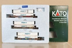 Kato 106-6168 N Weathered Bnsf Gunderson Maxi-iv Double Stack Container Car 3nv