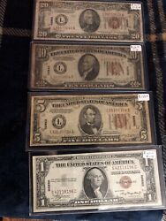 1934 5 10 20 1935 1 Wwii Hawaii Brown Seal Note Old Paper Money Collection