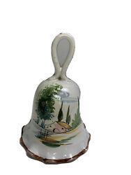 """VINTAGE Italian Ceramic Bell Hand Painted Flowers Rare Made in Italy Numbered 6"""""""