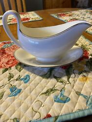 Wedgwood China , Doric Platinum , Gravy Boat With Attached Under-plate . Mint