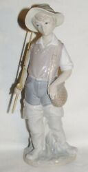 Lladro Figurine Going Fishing Fisher Boy With Fish Rod Pole 4809 Retired