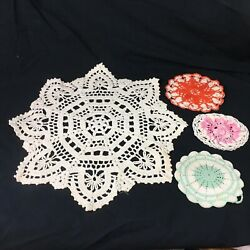 Lot Of 16 Vintage Crochet Doilies Hot Pads Beige White Round Square Snowflake