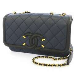Cc Philly Gris-chain Shoulder Bag Caviar Leather Navy/black A93340