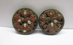 Mughal Style Old Green Jade Jewelled Pair Of Round Plaque Parrot Design Rare