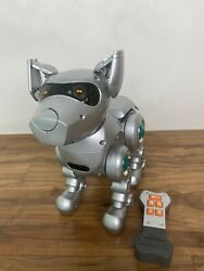 Vintage Tekno Interactive Robotic Silver Puppy Dog W/ Remote - Tested And Works