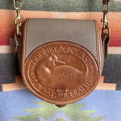 Rare Vintage Dooney and Bourke Big Duck Small Crossbody Bag USA Made Taupe Brown $138.44