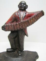 Musician Accordion Player Antique Cast Iron Doorstop Spencer Guilford Conn