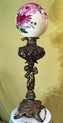 Antique Brass Oil Converted To Electric Lamp Globe With Cherub 31 Tall
