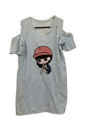 Unbranded SMALL Women#x27;s Distressed Jean Dress Cartoon Asian Chinese Girl PROJECT $3.99