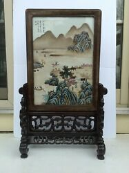 Antique Chinese Porcelain Plaque Painting And Carved Rosewood Base Marked.