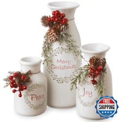 5 In. Peace 6 In. Joy 9 In. Merry Christmas Holiday Antique Milk Bottles Set Set
